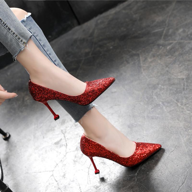 YIMANDI Giày cô dâu Giày cưới nữ cao gót cỡ nhỏ 31 32 33 Giày cao gót mũi nhọn cỡ lớn 41 42 43