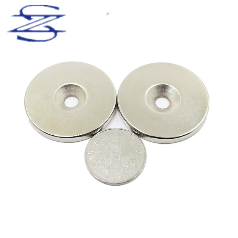 ZHESHENG Sắt từ Nhà máy bán hàng trực tiếp NdFeB thép từ mạnh đĩa từ nam châm vòng lớn D40 * 5 lỗ tr
