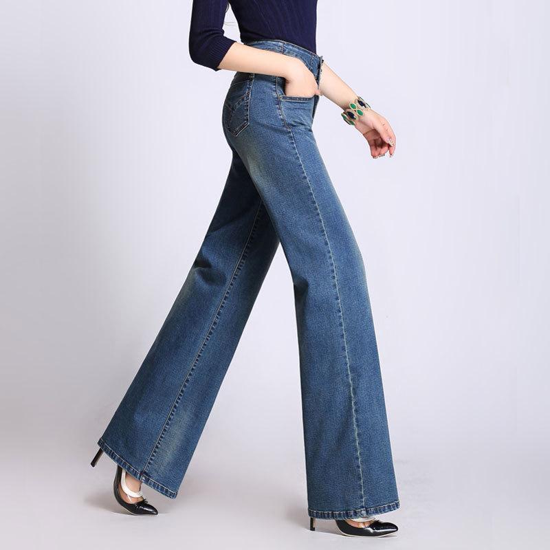 YUEYUAN Thời trang Quần áo nữ mùa thu đông 2019 Châu Âu và Hoa Kỳ Quần jeans ống rộng cạp cao mới Qu