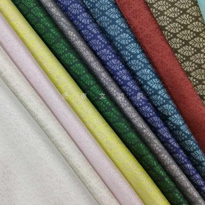XIANHUIWEN Vải Yarn dyed / Vải thun có hoa văn Vintage vàng và bạc lụa tơ tằm sợi dệt dệt vàng sườn