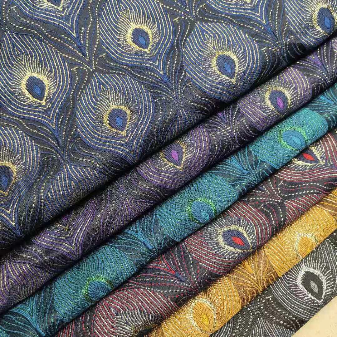 Vải Yarn dyed / Vải thun có hoa văn Vải lông chim công lông chim thời trang châu Âu và Mỹ Vải jacqua