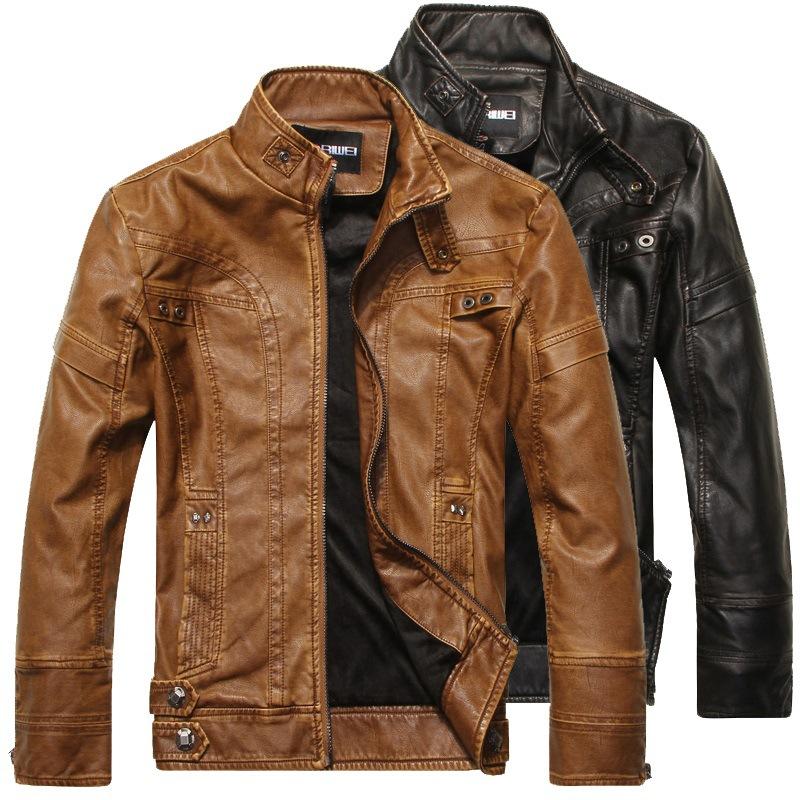 Áo khoác da ngoại thương Quần áo da nam Quần áo thời trang Châu Âu và Mỹ Slim xe máy Áo khoác da PU