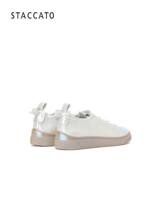 Giày da một lớp  Stigart 2020 xuân mới thời trang đường phố chụp giày sneakers ngọc trai trắng giày
