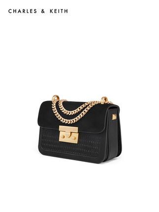 CHARLES & KEITH Túi xách nữ thời trang  Shoulder Bag CK2-80700798 Dệt Messenger Đen nhỏ Túi vuông Ch