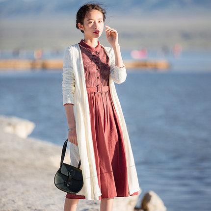 Áo khoác Cardigan  Hongnian xuân 2020 mới giữa áo dài dệt kim áo len ngoài áo len mùa xuân và mùa th