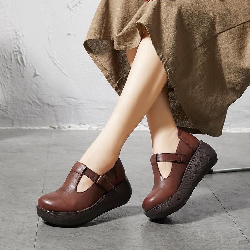 LARKSPUR giày bánh mì / giày Platform 2020 mùa xuân dày đế giày nêm tròn chân giản dị giày đế thấp d