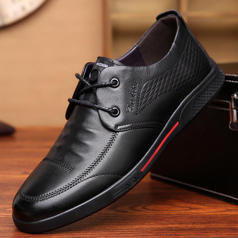 LartinGoram thị trường giày nam 2019 mới hàng đầu giày da bò nam trung niên và cũ giày thông thường