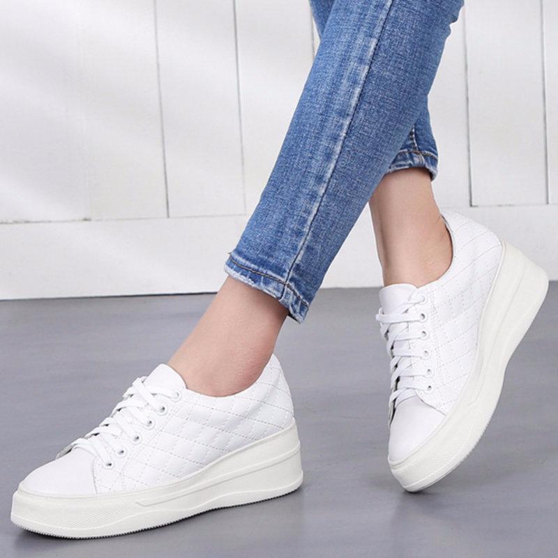 Nivekeel Giày lười / giày mọi đế cao 2020 bốn mùa giày da mới giày thể thao thông thường Giày da nam