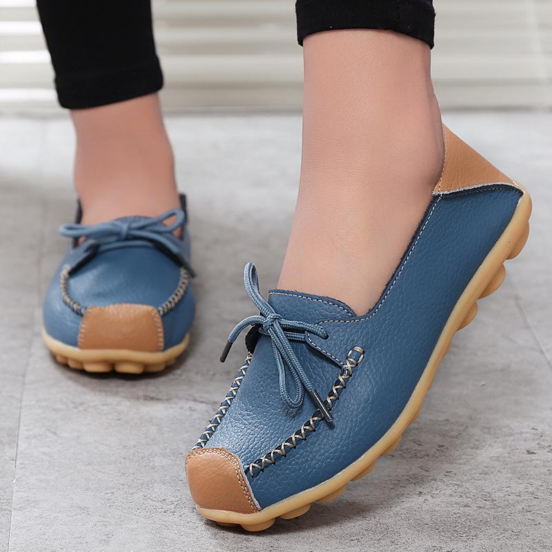 Giày Da mềm đế phẳng chống trơn kiểu dáng thời trang cho nữ