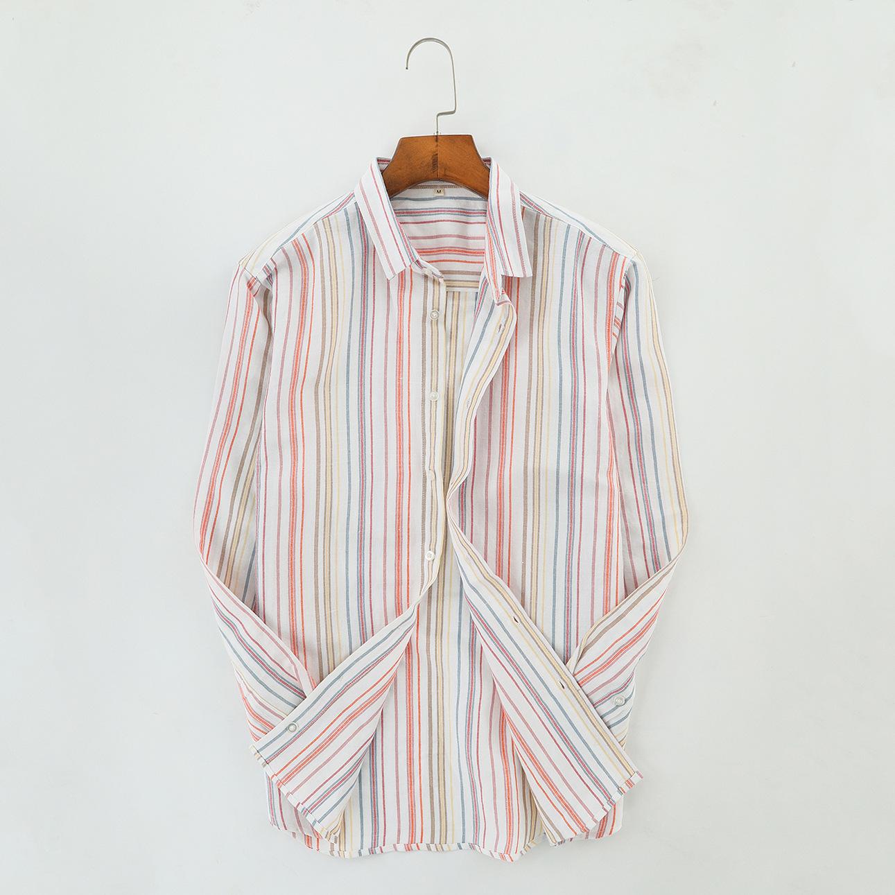 MAKE tay dài Mak 19 mùa xuân và hè mới áo sơ mi vải lanh nam tươi sọc dài tay áo sơ mi vải lanh Nhật