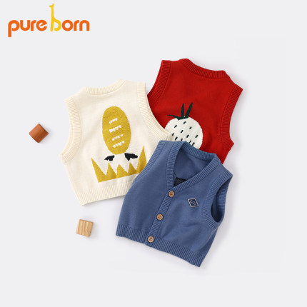 Áo ba lỗ  / Áo hai dây trẻ em  nam và nữ thuần chủng mùa xuân cotton dễ thương áo len trẻ sơ sinh áo