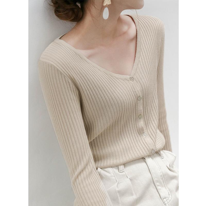 Acme Ground Áo khoác Cardigan Áo len nữ mùa đông 2020 mới của Hàn Quốc áo len ngắn tay ngắn mùa xuân