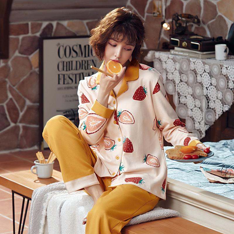 DIRUXIN Đồ ngủ Tiruxin Bộ đồ ngủ mùa xuân và mùa đông mùa đông Phụ nữ cardigan dài tay Nhật Bản và H