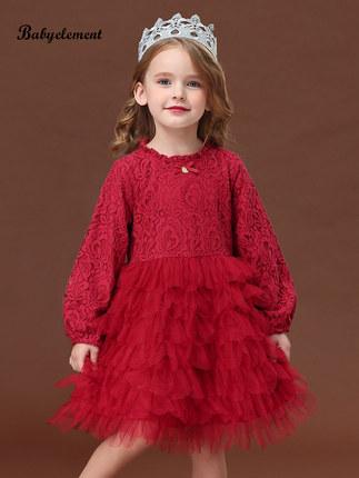 Trang phục dạ hôi trẻ em Váy bé gái xuân 2020 phong cách nước ngoài trẻ em mùa xuân và mùa thu bé gá