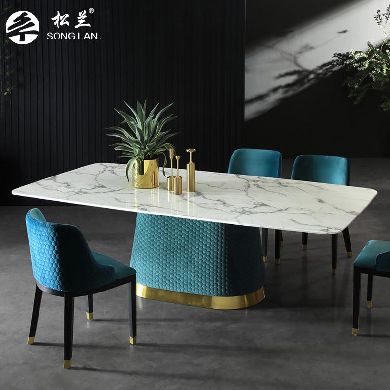 Songlan Nội thất Bắc Âu ánh sáng sang trọng bàn ăn bằng đá cẩm thạch và ghế căn hộ nhỏ net đỏ bàn ăn