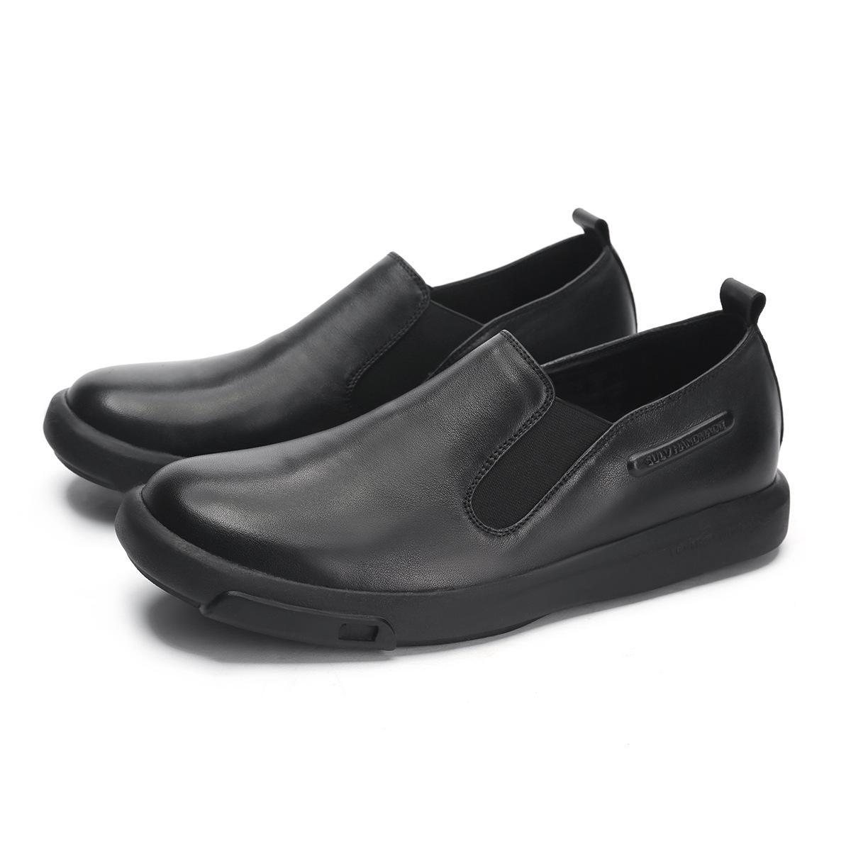 PSRJ Giầy dép Nhà máy bán hàng trực tiếp da đơn giản da thủ công tròn đầu giày nam phẳng giày nam bì