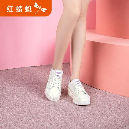 REDDRAGONFLY Giày bánh mì Chuồn chuồn đỏ mùa xuân giày mới của phụ nữ đầu tròn bằng da ren-up thường