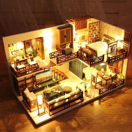 Đồ chơi sáng tạo  Mới tự làm biệt thự tiểu thủ phong cách Trung Quốc sáng tạo thủ công nhà nhỏ mô hì