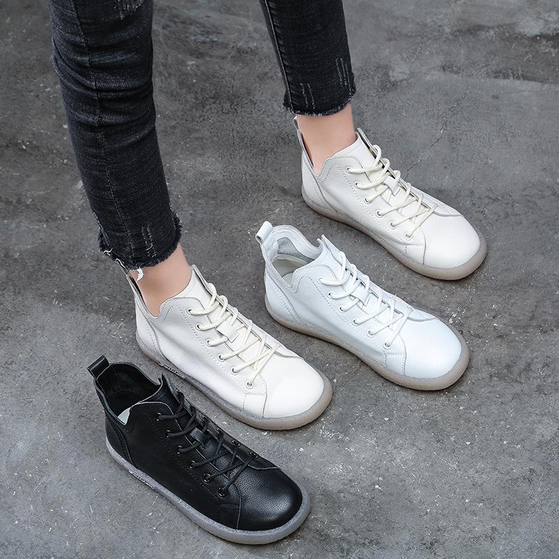 FEIDANIAO Thị trường giày nữ Giày nữ nhỏ màu trắng 2020 mùa xuân mới hoang dã Giày gân gót da mềm đế