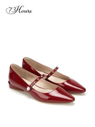 73Hours  giày bệt nữ  73Hours Julia 2020 mùa xuân mới Giày Mary Jane giày đế bằng rhinestone kiểu cổ