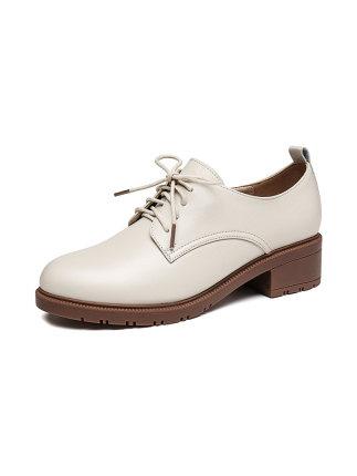 Giày da một lớp  Giày chuồn chuồn đỏ của phụ nữ mùa xuân mới vừa dày với thời trang đi lại hoang dã