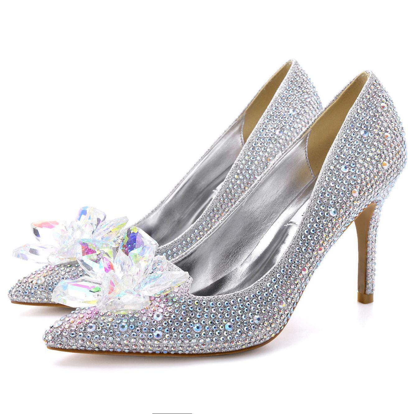 YSBN Giày cô dâu 2020 New Cinderella Crystal Shoes Mũi nhọn Slim Sexy Sexy Giày bạc nữ rhinestone