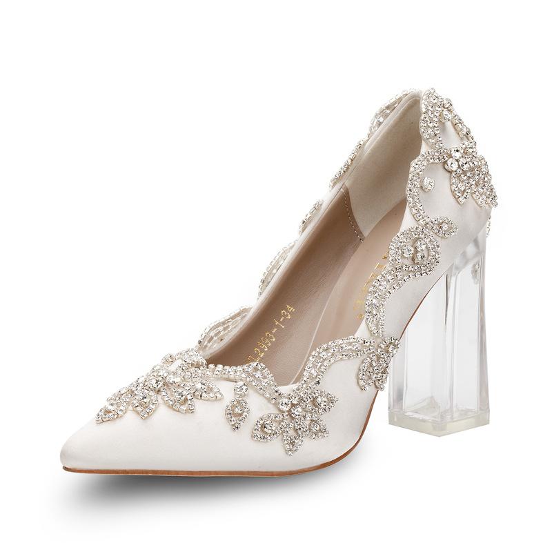 Giày cô dâu Ngoại thương xuất khẩu giày nữ giày đơn giày cưới rhinestone sang trọng thiết kế ban đầu