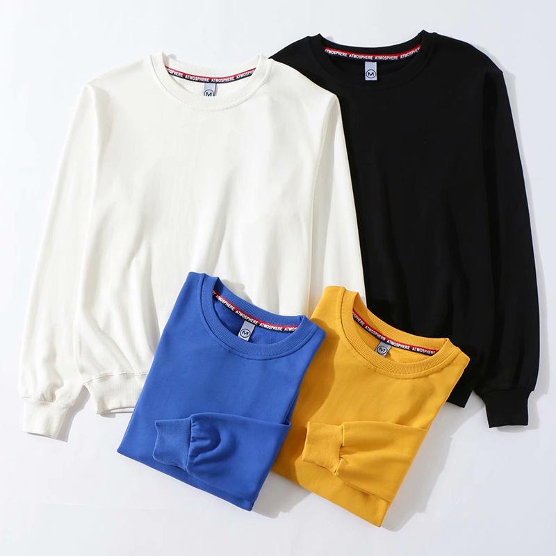 YOUSHAN tay dài Cotton rắn màu mỏng phần cổ áo len in logo công sở quần áo dài tay áo len quảng cáo