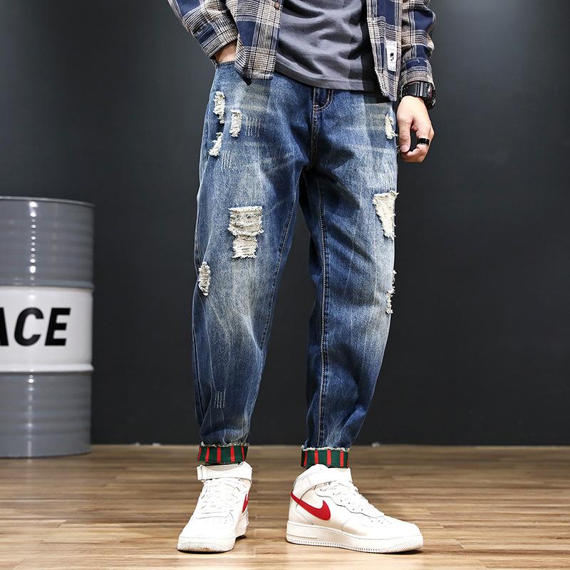 quần Jean 2019 chân quần jeans nam lỗ nhỏ quần thủy triều thương hiệu phiên bản Hàn Quốc của quần ốn
