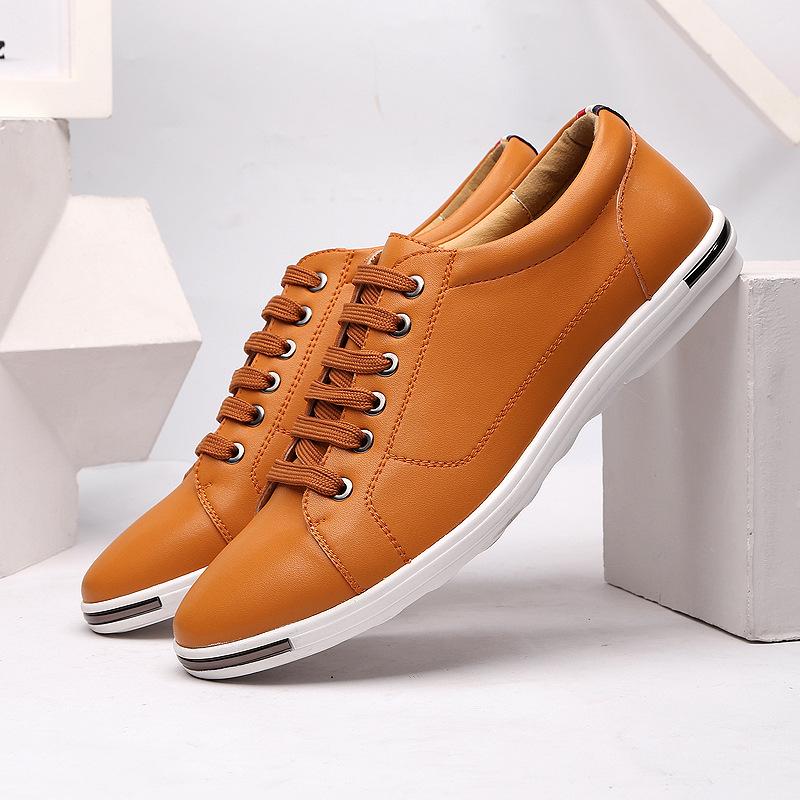 JUQI Giày lười / giày mọi đế cao 2020 giày nam cộng size size thời trang giày da thoáng khí Giày ren