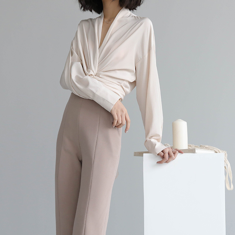THXGIVING tay dài Mùa xuân 2020 mới Hàn Quốc khí chất rắn màu băng rôn áo sơ mi mười ba hàng bán buô
