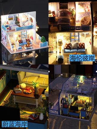 Đồ chơi sáng tạo  biệt thự tự làm thủ công nhỏ mô hình nhà lắp ráp đồ chơi bằng gỗ nhà sáng tạo món