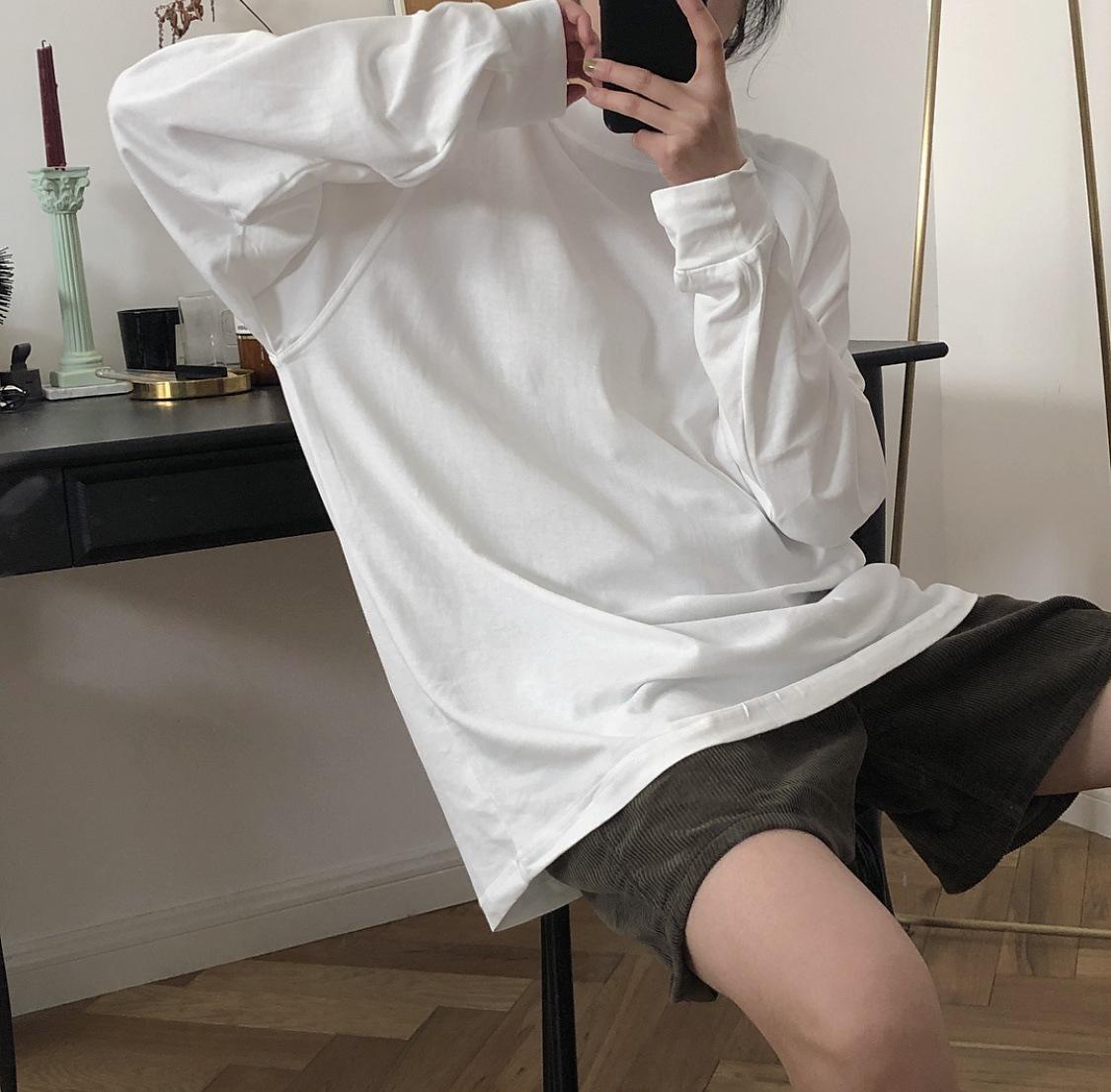 tay dài Mùa xuân 2019 mới Hàn Quốc chic đơn giản cổ tròn chạm đáy áo rộng lỏng lẻo lười áo thun dài