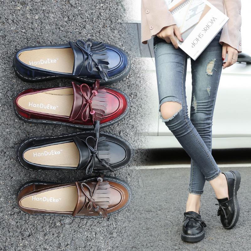 Giày da một lớp AAA-7 xuân 2019 mới Giày đơn châu Âu và Mỹ Giày retro retro nhỏ của Anh Giày nữ cỡ l