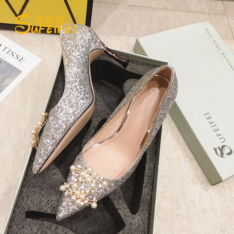 SUFEIFEI Giày cô dâu 311-8 mới 2019 mùa thu cao gót nữ thời trang sequin ngón chân mỏng gót giày cướ