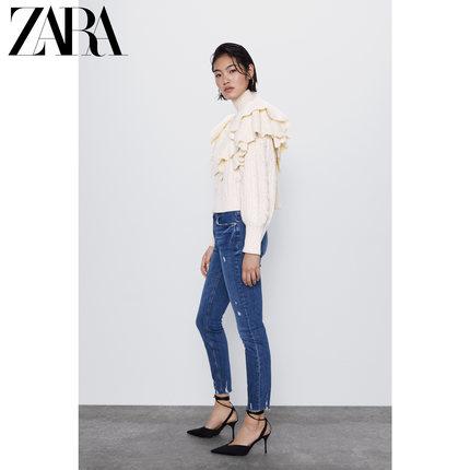 ZARA  quần Jean  ZARA [Giảm giá] quần áo nữ mới ZW PREMIUM quần jean skinny xanh nhỏ màu xanh 075130