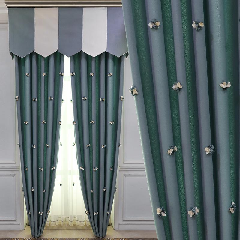 HUICE Vải rèm cửa Rèm vải nhà máy bán trực tiếp Bắc Âu hiện đại thêu một nửa bóng phiên bản đầy đủ h