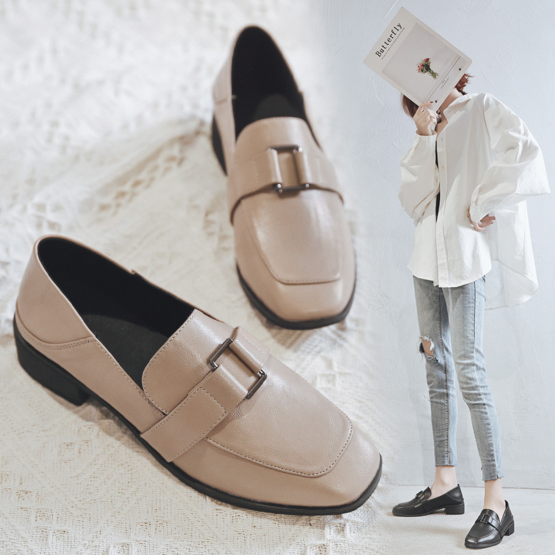 XIAOHONGREN Giày Loafer / giày lười Giày nam màu đỏ nhỏ yêu giày nữ đạp giày da nhỏ nữ Giày đế vuông
