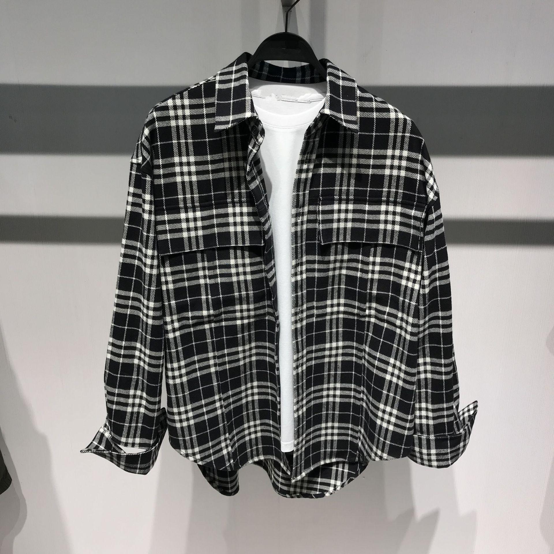 Áo Sơmi 94171 mùa thu và mùa đông áo sơ mi lưới đen và trắng túi sơ mi hoang dã giản dị