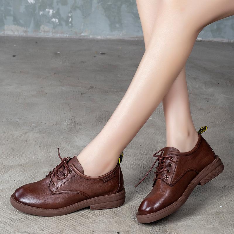 TIANNIGE Giày GuangDong Giày da nữ Tian Nige Giày nữ mùa xuân 2020 Giày nữ mới đế bằng Giày đế bằng