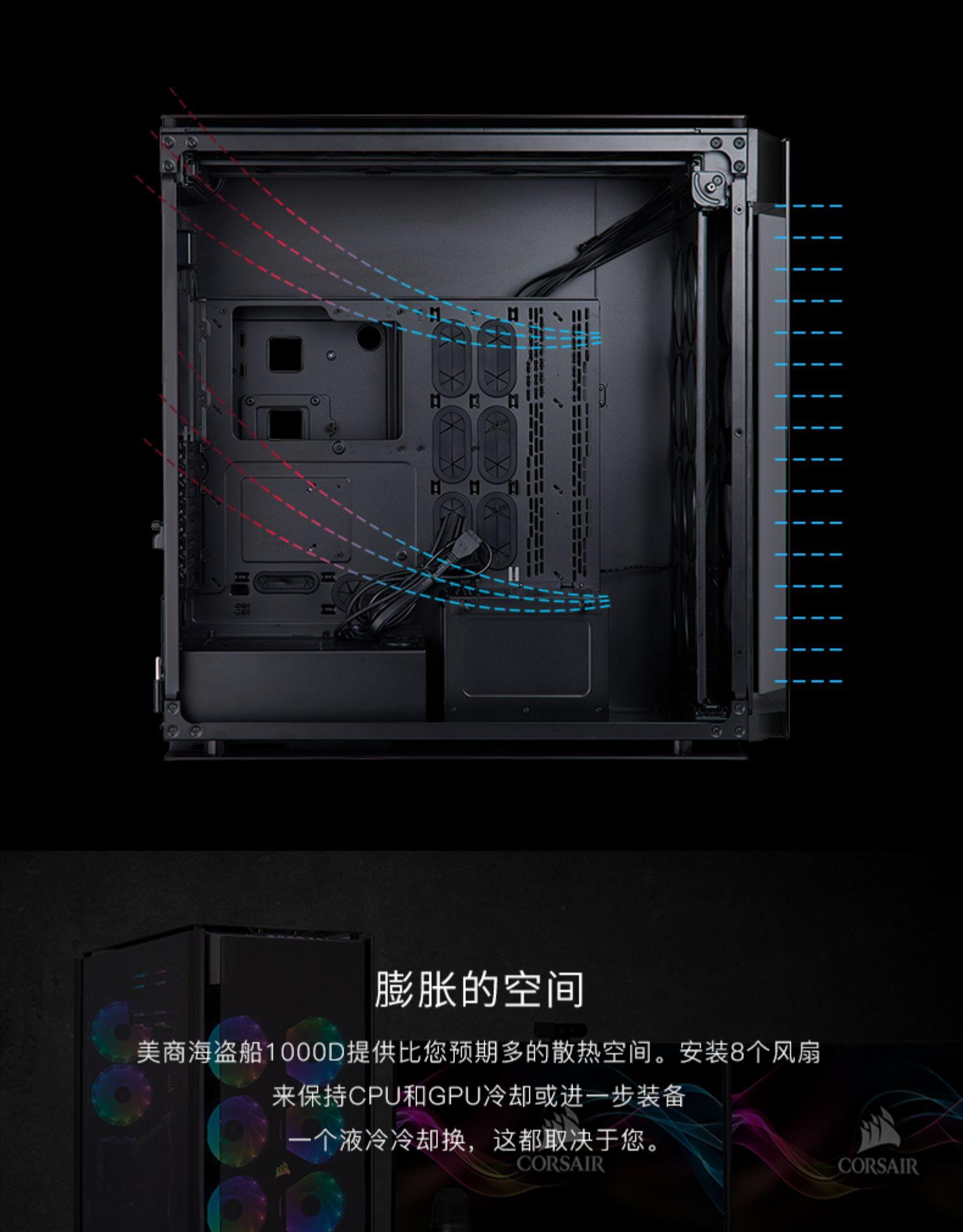 Thùng CPU Tàu hải tặc Mỹ 1000D, tòa tháp đầy đủ vỏ bọc cửa hàng hải tặc, vỏ bọc tàu thuỷ tinh, nhân