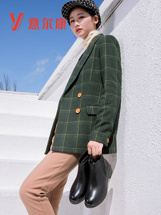 YEARCON Giày da Giày nữ Yier Khang chính thức lưu trữ hàng đầu Giày da phong cách Anh Giày da nữ Che