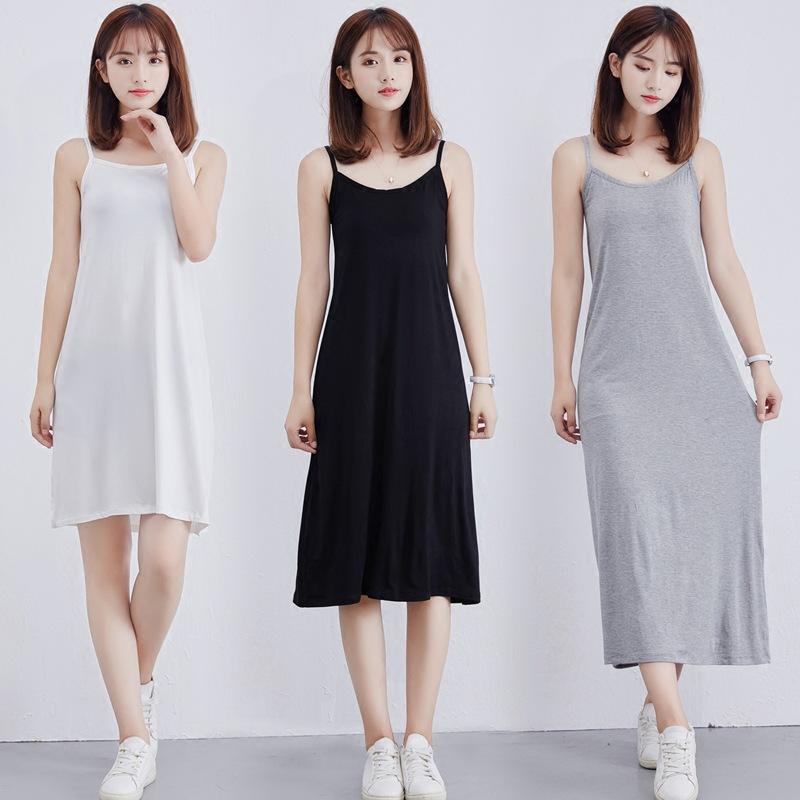 FUXIANG Đầm Mùa hè modal đáy quần treo váy nữ chemise giữa dài tay áo rộng không tay váy cộng với si