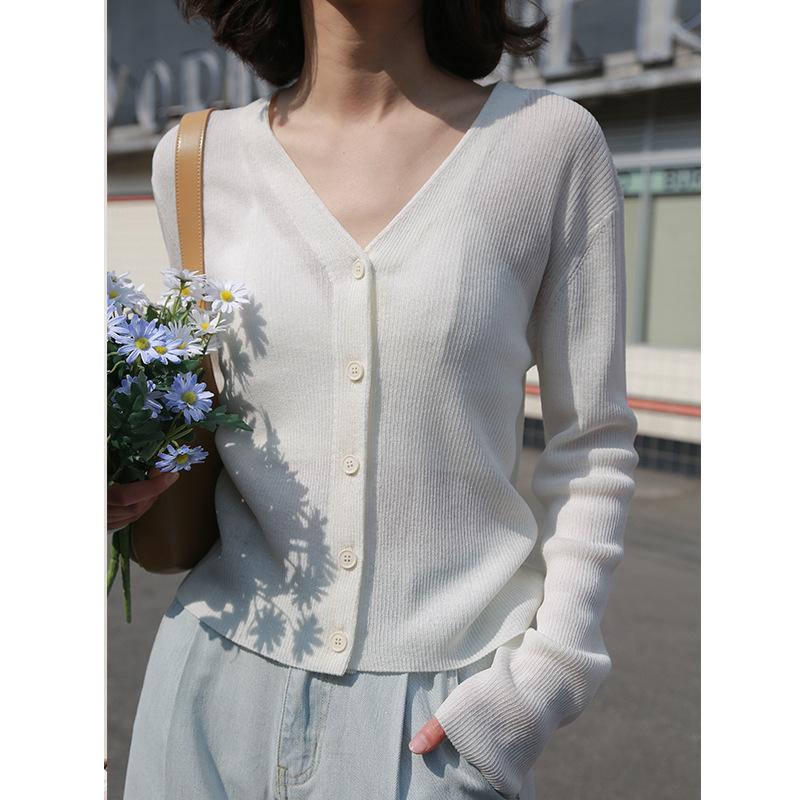 Clean space Áo khoác Cardigan Magnolia 2020 mùa xuân mới màu rắn V-cardigan áo len hoang dã áo khoác