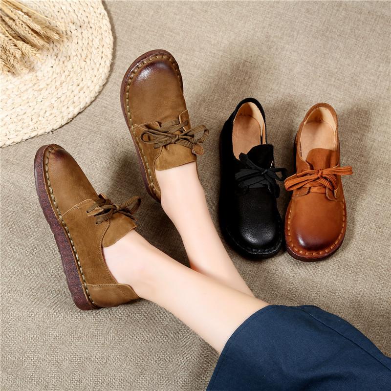 LLTS Giày Loafer / giày lười Giày da retro của Anh Mori giày đơn nữ dày không trơn trượt giày không