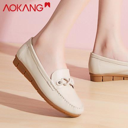 Aokang Giày mọi GomminoAokang giày mới Peas nữ giày da nữ y tá bình thường và phụ nữ trung niên phẳn