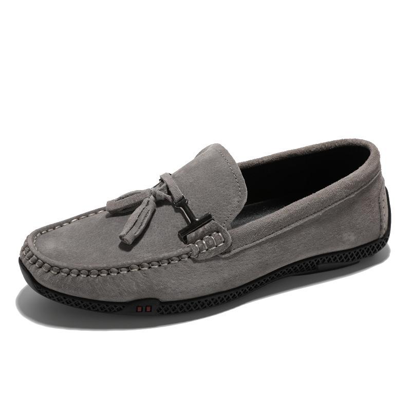 HENGBU Giày mọi Gommino Giày da mùa hè Giày nam Peas Giày nam thoáng khí Giày da Hàn Quốc Xu hướng g