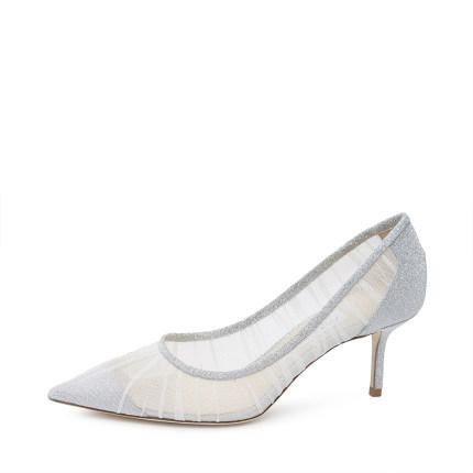 Jimmy Choo Giày cô dâu  Jimmy Choo / Zhou Yangjie Bạc LOVE65 lưới gạc tốt khâu mũi giày cao gót nữ