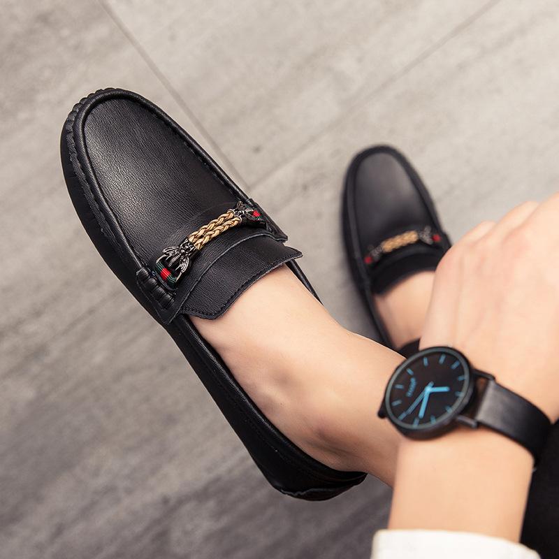 Giày da Giày nam Giày da đậu Hà Lan phiên bản Hàn Quốc của bộ chân hoang dã cá tính Giày lười da thô