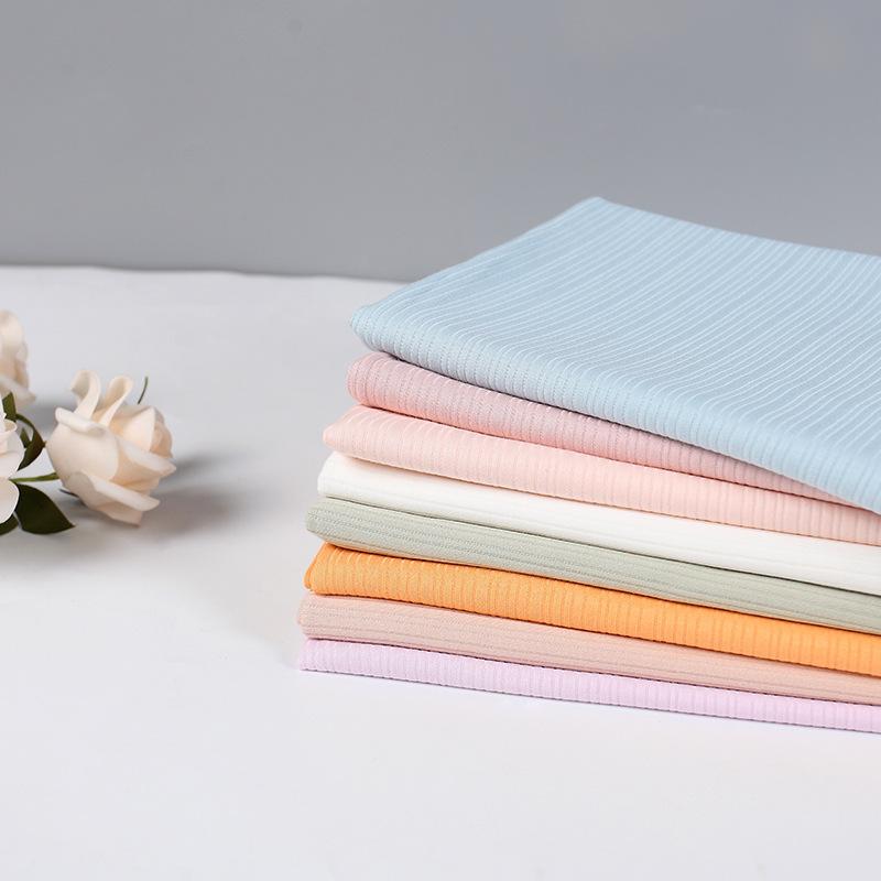 Vải Rib bo Vải co giãn dây rút cotton, cotton ngọc trai ba chiều spandex hai mặt, vải dệt kim phổ bi